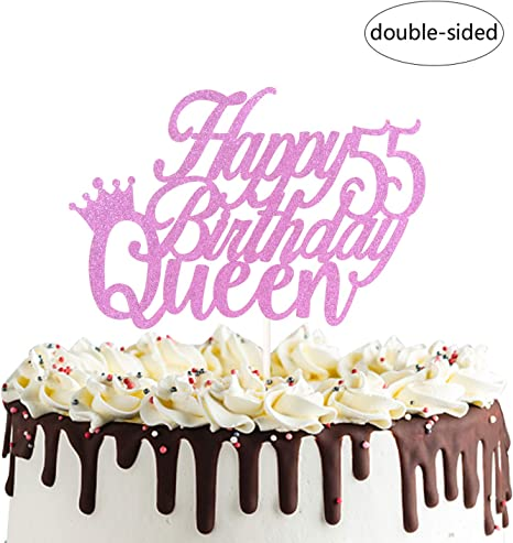 Astounding Amazon Com Happy 55Th Queen Birthday Cake Topper Cheers To 55 Personalised Birthday Cards Paralily Jamesorg