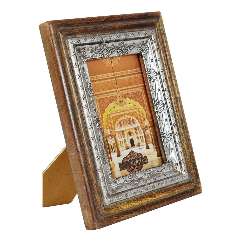Indian Heritage Wooden Photo Frame 5x7 Mango Wood Frame Metal Cladding Design in Dark Wood Finish