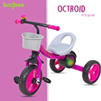Baybee Octroid Tricycle Kid's Trike Baby Tricycle/Bicycle with Basket & Musical Kid's Ride on Outdoor | Suitable for Boys & Girls-(1 to 5 Years)- Pink