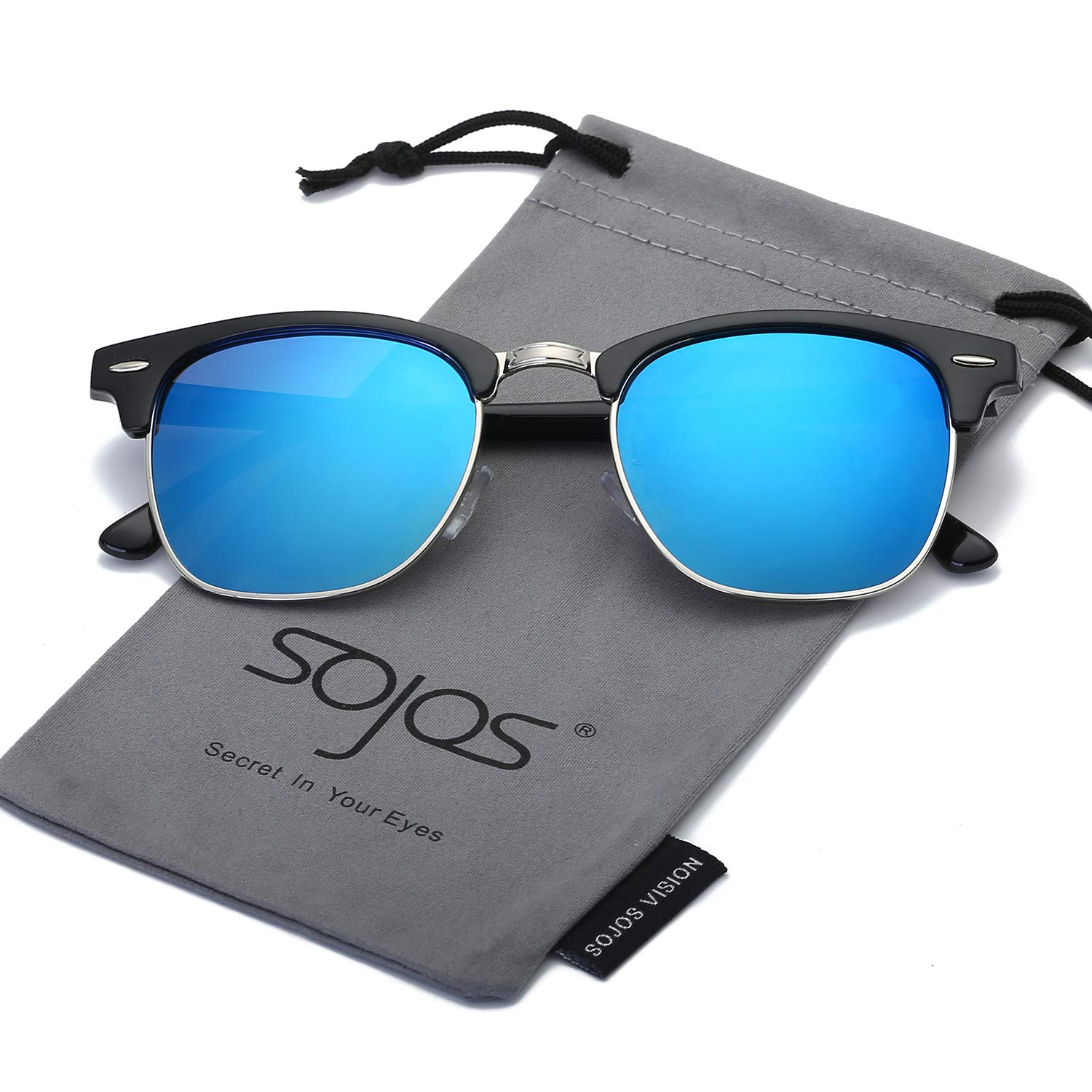 SOJOS Clubmaster Horn-rimmed Semi Rimless Polarized Sunglasses SJ5018 with Black Frame/Blue Polarized Lens
