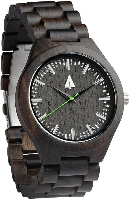 d73af93490 Amazon.com  Treehut Men s Black Ebony Wooden Watch with All Wood ...