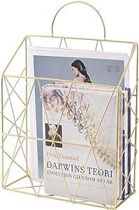 PENGKE Hanging Wall Files Magazine Holder,Decorative Organizer Metal Wire Mounted Storage Baskets Portable File Holder,Gold