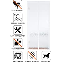 Liveinu Magnetic Thermal Insulated Door Curtain for Air Conditioner Room/Kitchen Magnetic Screen Door with Thermal and Insulated Anti Bug Insect Energy Loss Reduce Noise 35x82 Inch White