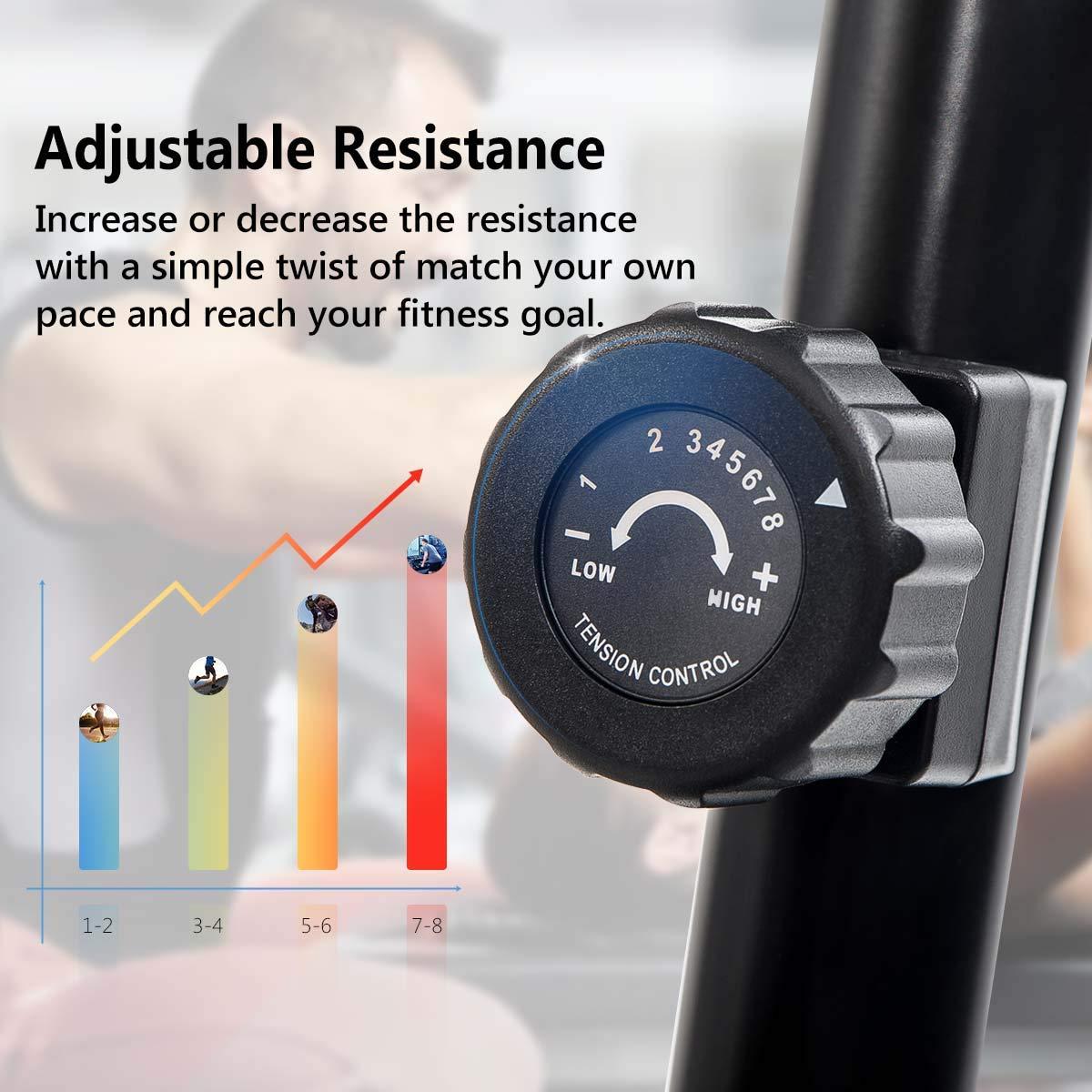 Merax Magnetic Recumbent Exercise Bike | 8-Level Resistance | Quick Adjust Seat (Black/Yellow) by Merax (Image #3)