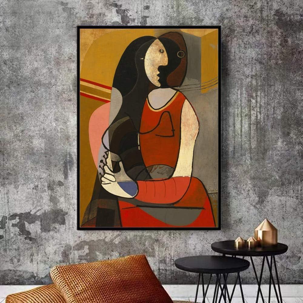 zqyjhkou Sin Marco Mujer sentada Pablo Picasso Pinturas sobre Lienzo Reproducciones Impresiones artísticas mundialmente Famosas Picasso Cuadros Abstractos Decoración de la Pared del hogar 60x90cm