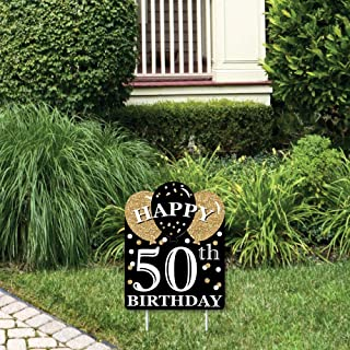product image for Big Dot of Happiness Adult 50th Birthday - Gold - Outdoor Lawn Sign - Birthday Party Yard Sign - 1 Piece