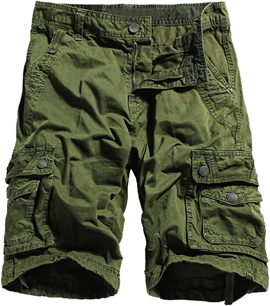 Allonly Mens Cotton Stylish Casual Solid Color Relaxed Fit Multi-Pocket Cargo Shorts