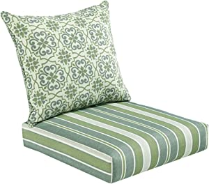 Bossima Indoor and Outdoor Cushion, Comfortable Deep Seat Design, Premium 24 inch Replacement Cushion, Includes Seat and Backrest, Green/Grey Damask/Striped