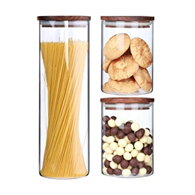 Clear Glass Canisters With Airtight Lids For The Kitchen Glass Food Storage Jars Wood lids Air Tight Dry Food Storage Containers Pasta Spaghetti Loose Tea Cookie Candy Sugar Jar,3 Piece Set
