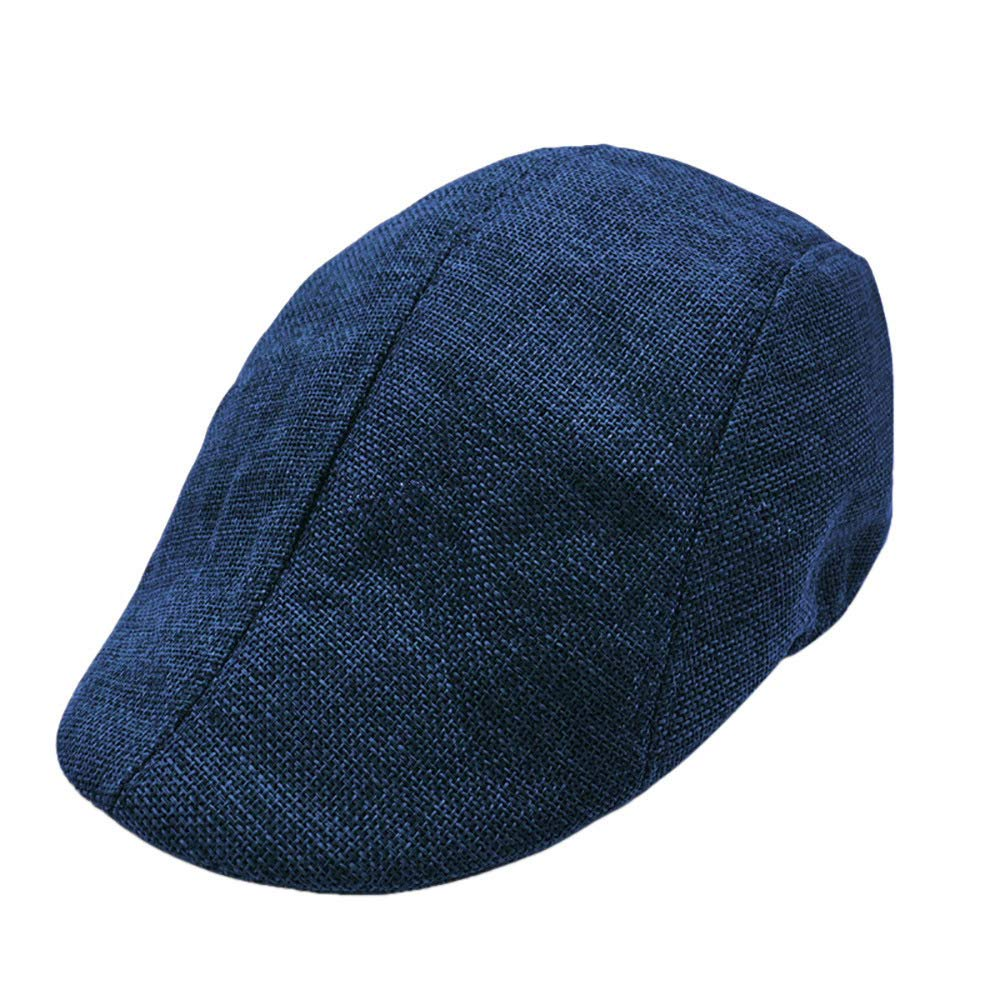Men Summer Breathable Beret Flat Cap Visor Hat Sun Cap Casual Mesh Solid Low Profile Hat Vintage Trucker Cap (Navy)