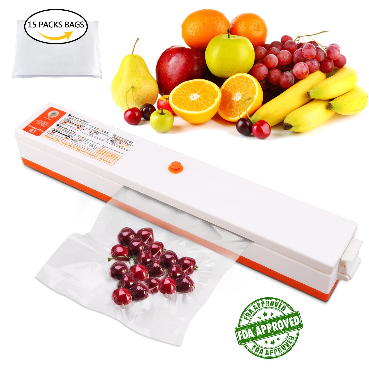 - Vacuum Sealer Machine -, Samshow Automatic Vacuum Sealing System for Food Sealers,Portable Vacuum Packing and Sealing with 15 FREE Sealing Storage Bags (white)