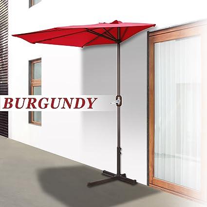 Strong Camel Patio Half Umbrella Wall Balcony Sunshade Market Garden  Outdoor (10', Burgundy)