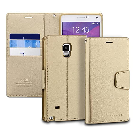 Galaxy Note 4 Case, ModeBlu [Classic Diary Series] [Gold] Wallet Case ID  Credit Card Cash Slots Premium Synthetic Leather [Stand View] for Samsung