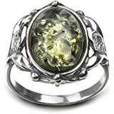 Sterling Silver Green Amber Vintage Oval Ring