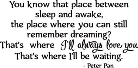 CarolGreyDecals Peter Pan Wall Decal Quotes Walt Disney Lettering Cartoons  Quote Print Vinyl Sticker Baby Girl Boy Custom Kids Room Art Bedroom ...
