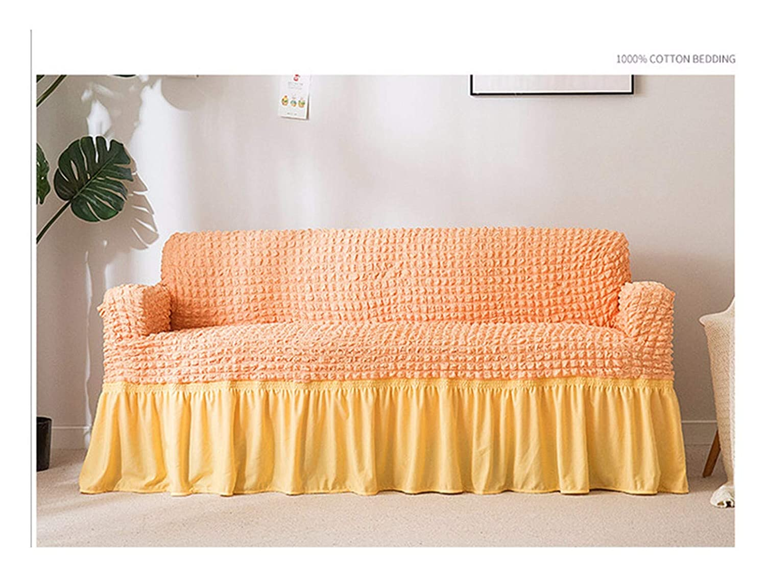 3seat VGUYFUYH [ReplicationPure Colour Four Seasons General Purpose Sofa Cover Polyester Full Package Elasticity Antiskid Home Universal Sofa Cover Simple Fashion One Set Durable Dust Pet Dog Predect