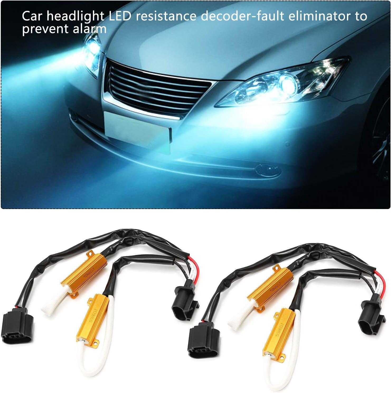 Anti Flicker Error Decoder Warning Canceler 50W 6Ohm 2PCS ZUDKSUY LED Resistor Kit 9008//H13 Relay Harness Adapter