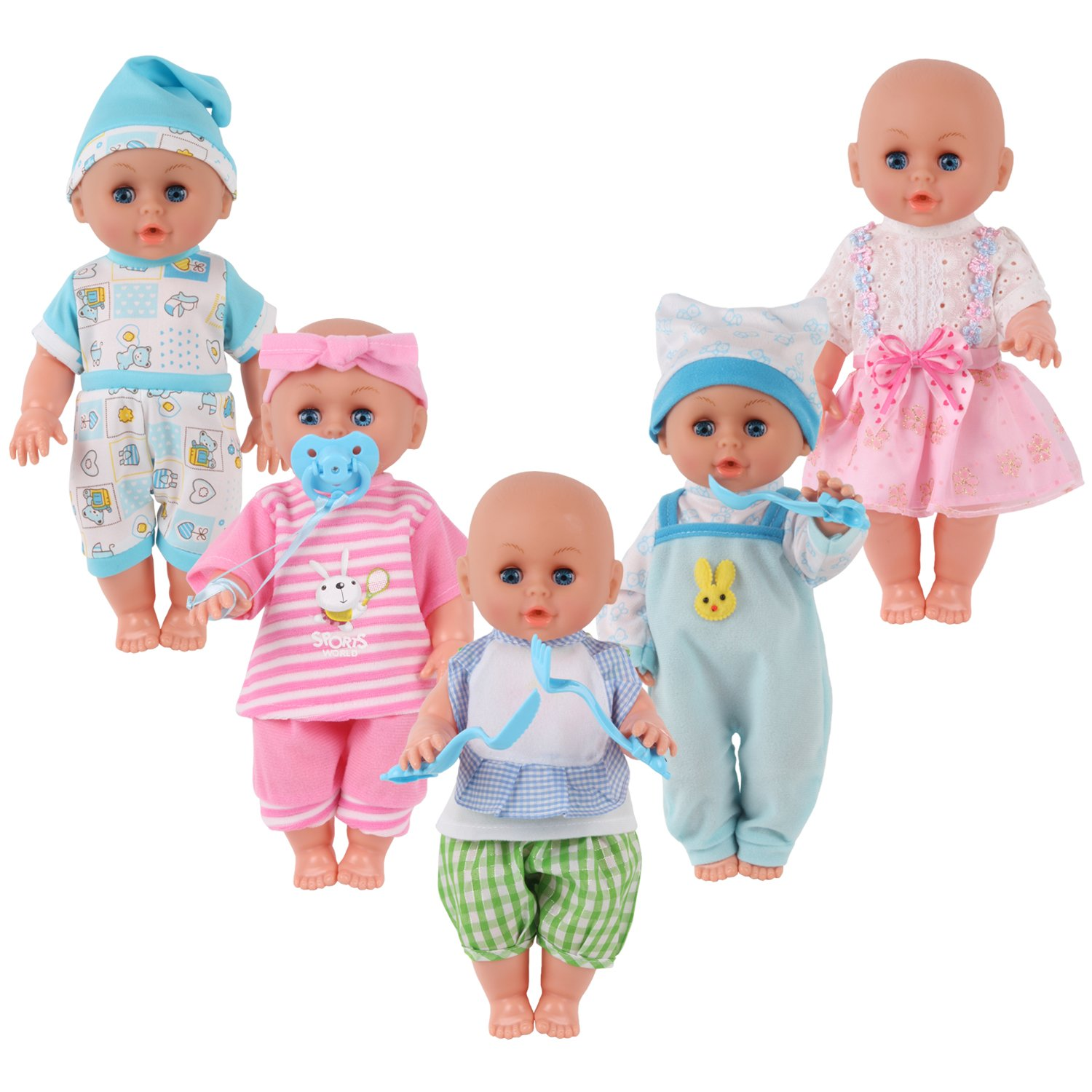 Set of 5 for 11-12-13 Inch Newborn Reborn Alive Doll Baby Doll Clothes Costumes Gown Outfits with Feeding Bottle Birthday Xmas Present Wrap China