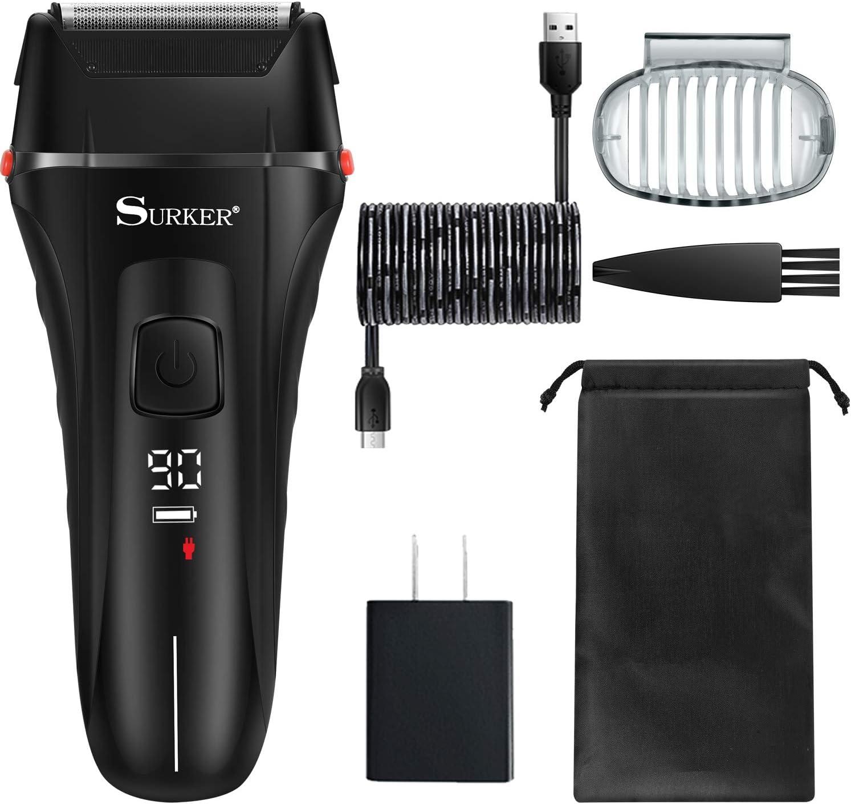 SURKER Maquinilla de afeitar eléctrica para hombres, recargable e ...