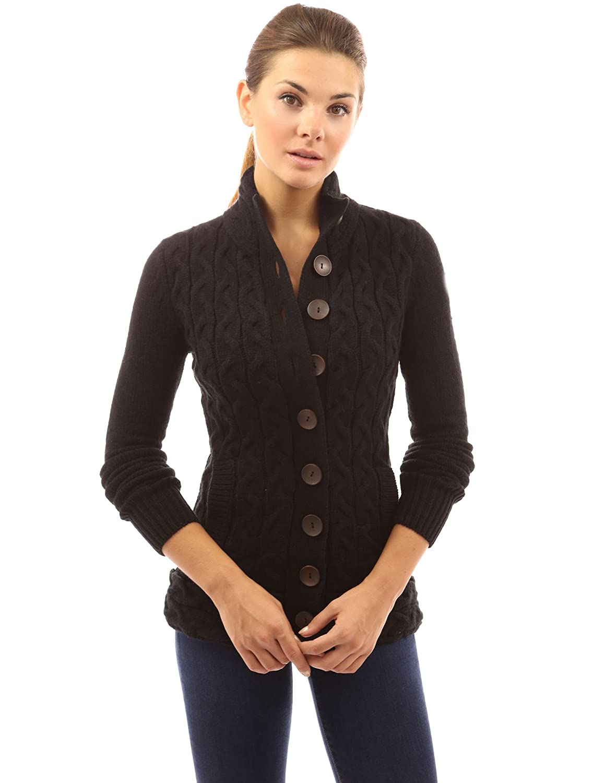 4c1169c092c PattyBoutik Women s Mock Neck Cable Knit Cardigan  Amazon.co.uk  Clothing
