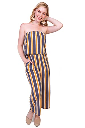 225605ae86a2 Amazon.com  Bebop Women s Strapless Popover French Terry Wide Leg ...