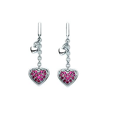 abfe15aad Lotopia Heart Cluster Dangle Earrings in Sterling Silver with Red Swarovski  Zirconia