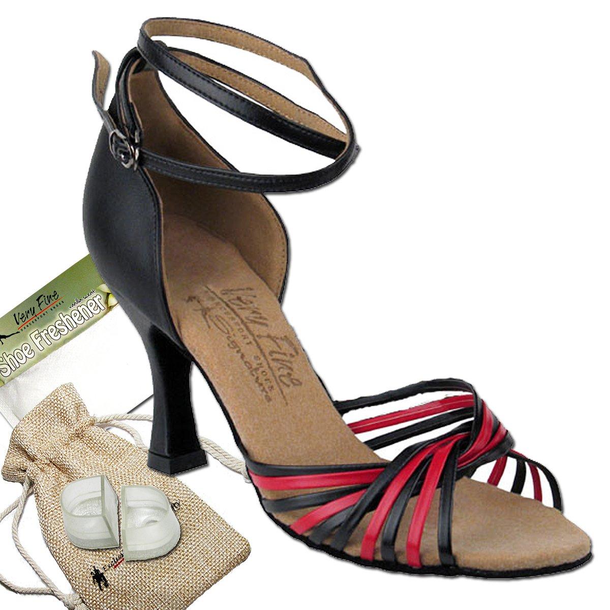 Women's Ballroom Dance Shoes Tango Wedding Salsa Dance Shoes Black Leather & Red Leather S1001EB Comfortable - Very Fine 3'' Heel 9.5 M US [Bundle 5]
