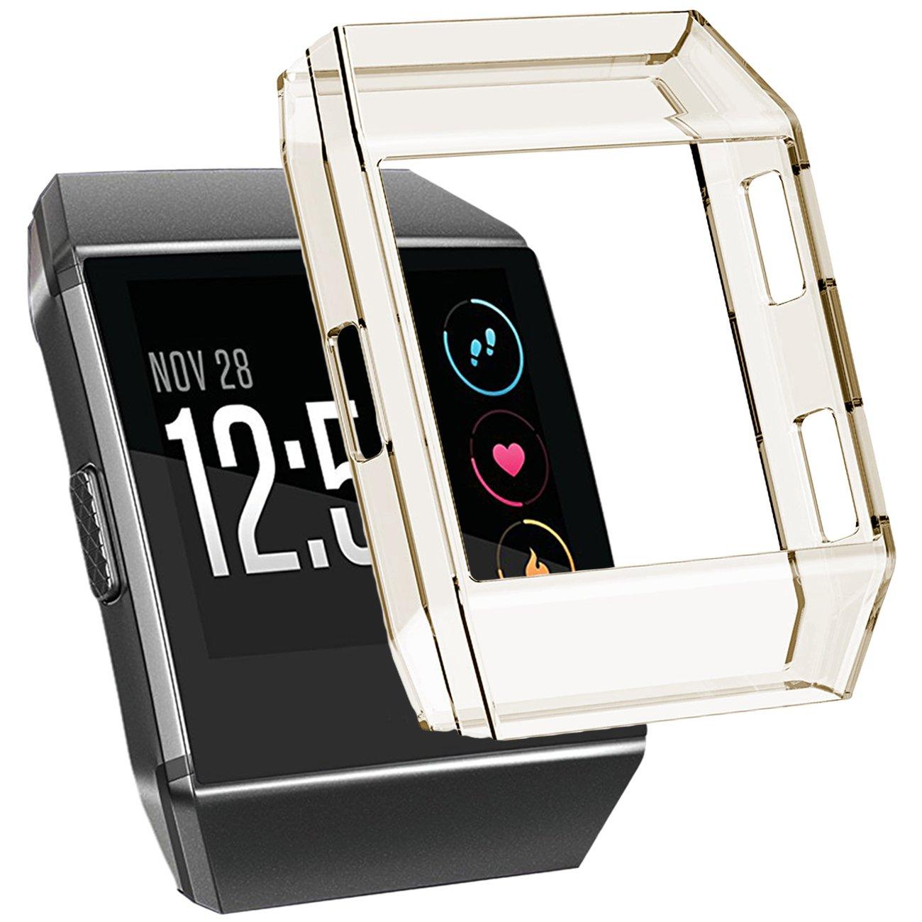 For Fitbit Ionic Case、maledanアクセサリーフレーム耐衝撃性保護ケースカバープロテクターシェルfor Fitbit Ionic Smart Watch B076T2MZCT茶色