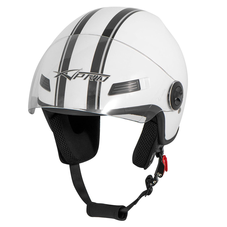 A-Pro Motorradhelm Motorrad Roller Offenes Jet Helm Viser ECE 22 05 Gr/ün XS