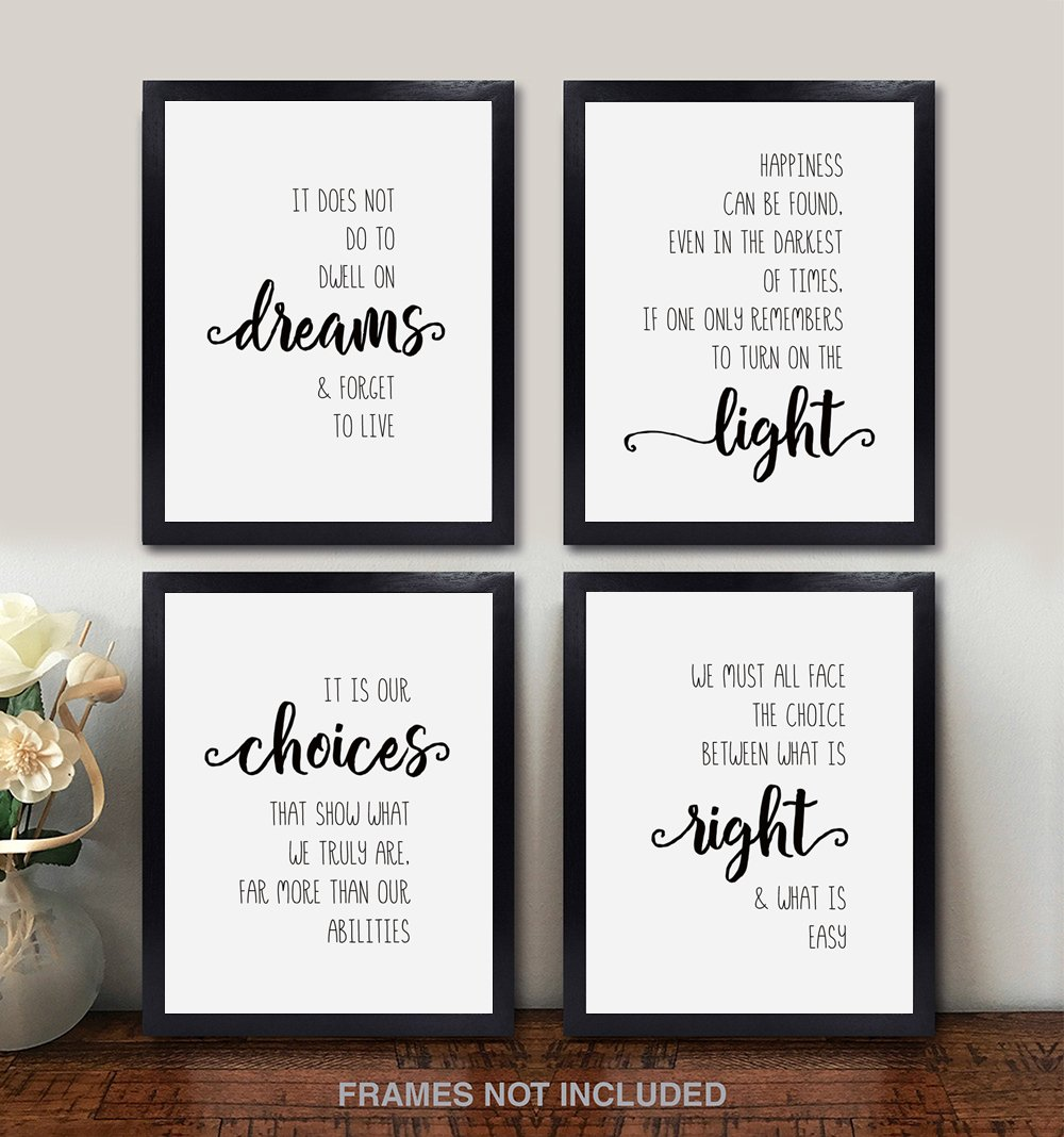 Bathroom Kids Dumbledore Quotes and Sayings Themed Art Gift for Home Confetti Fox Harry Potter Wall Decor Bedroom Baby Set of 4 Unframed 8x10 White Pearl Art Prints
