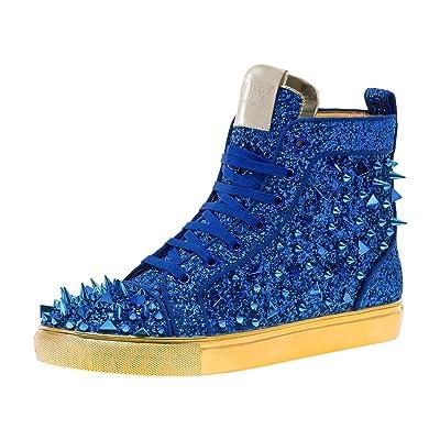 JUMP NEWYORK Men's Sloan Glitter and Multi Length Spike Sneaker   Fashion Sneakers