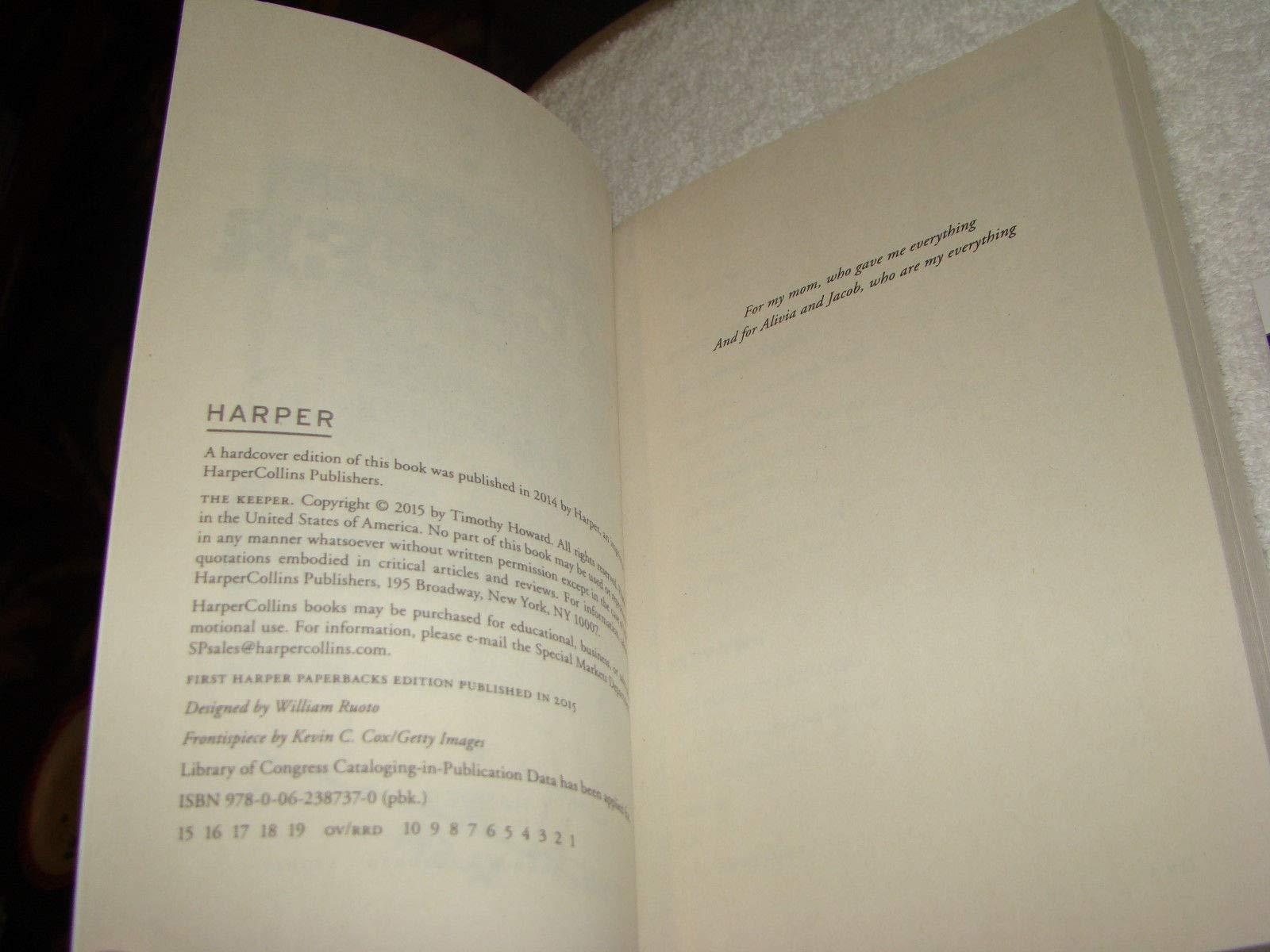 Tim Howard Autographed Signed Memorabilia The Keeper Life Of Saving Goals Book JSA #V74590 Usa Soccer