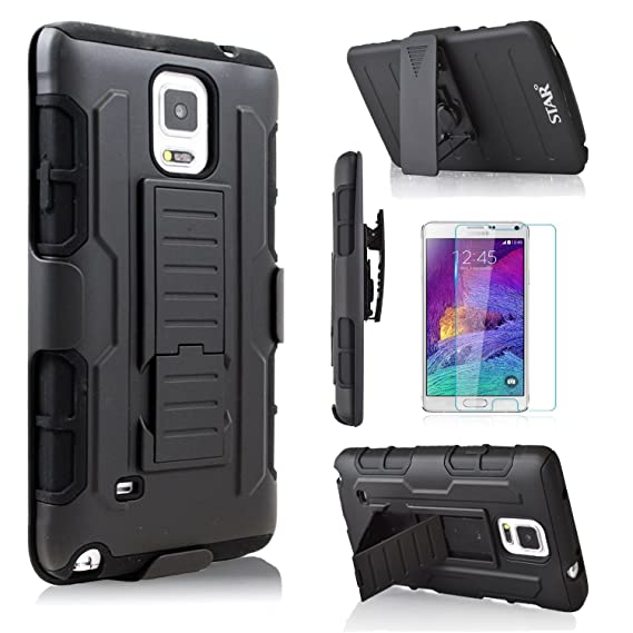 best sneakers 48a04 22e06 Note 4 Case With [Premium Screen Protector Included], Galaxy Note 4 Case,  Starshop [Armor Belt Clip] Dual Layers Kickstand Phone Cover and Locking ...