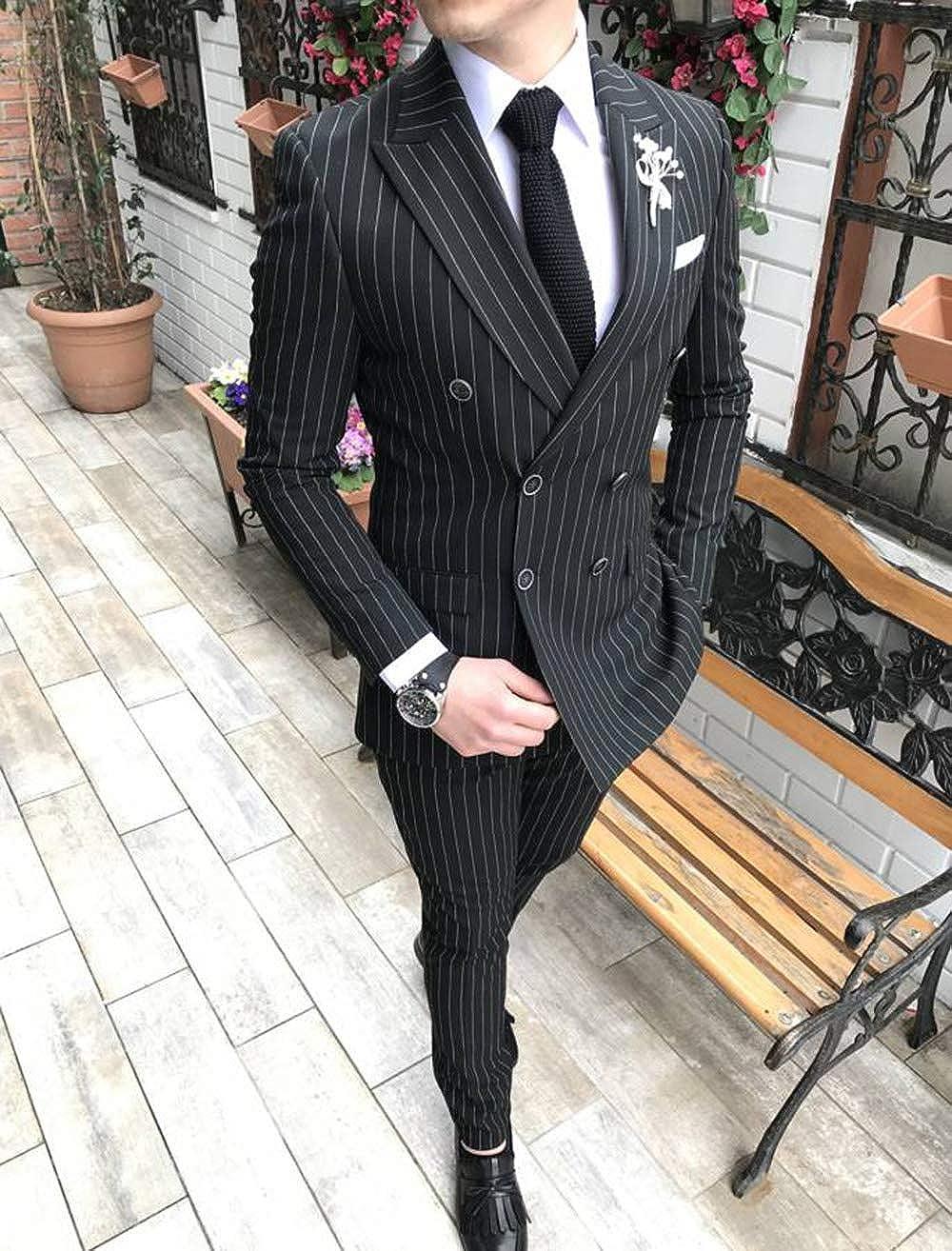 M/änner 2 St/ück Formale Slim Fit Nadelstreifen M/änner Anzug Zweireiher Groomsmen Smoking f/ür Hochzeit Blazer+Hosen