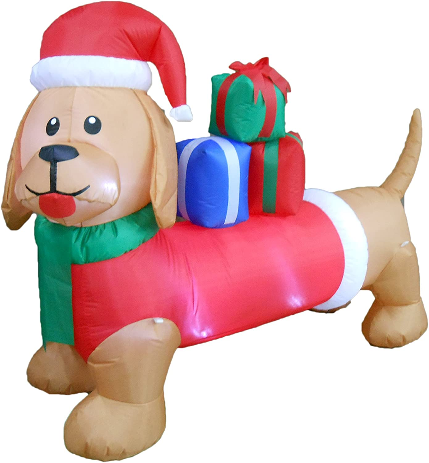 BZB Goods 6 Foot Long Christmas Inflatable Dog Puppy Gift Box LED Lights Lighted Blowup Party Decoration for Outdoor Indoor Home Garden Family Prop Yard