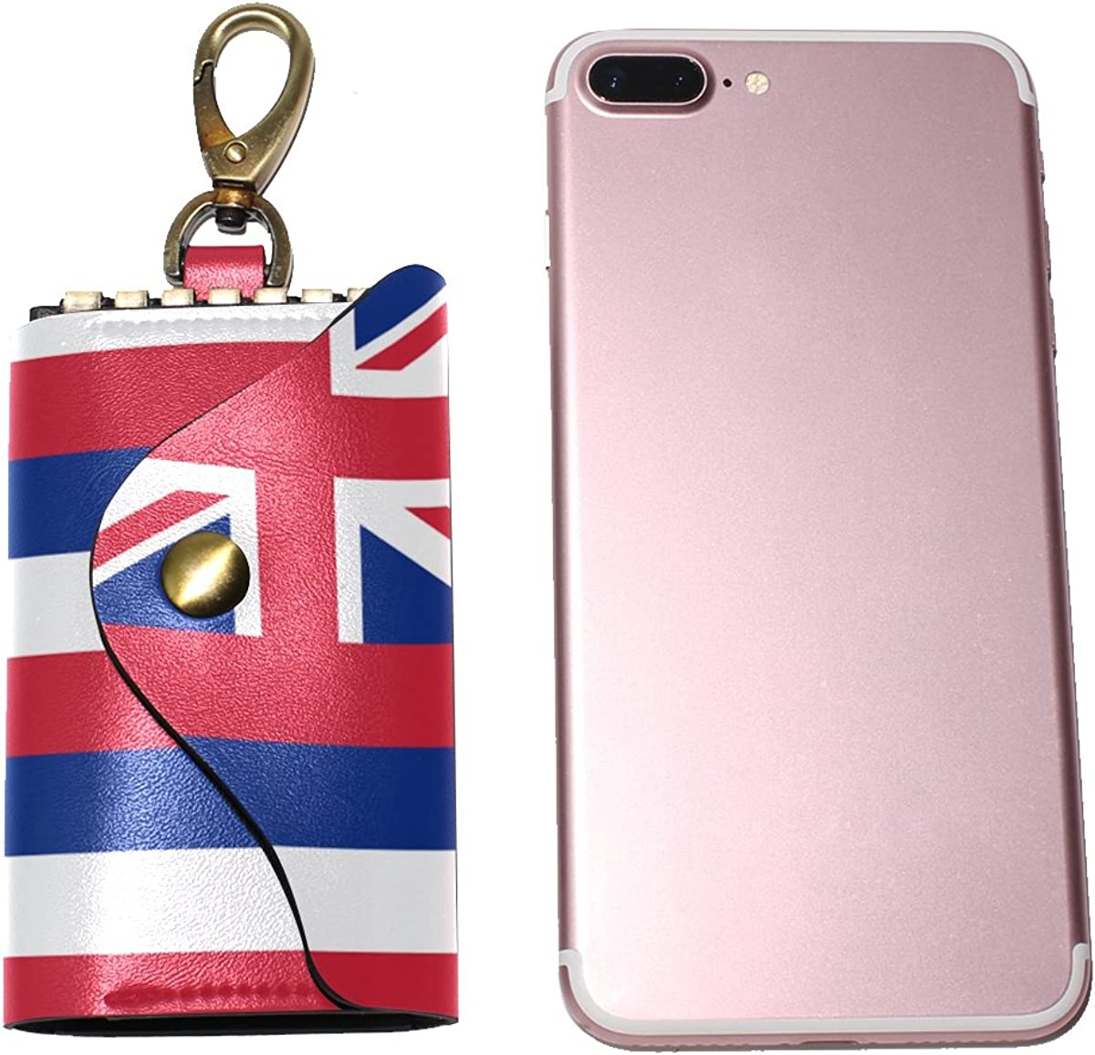 DEYYA Happy July 4Th Independence Day Hawaii Flag Leather Key Case Wallets Unisex Keychain Key Holder with 6 Hooks Snap Closure