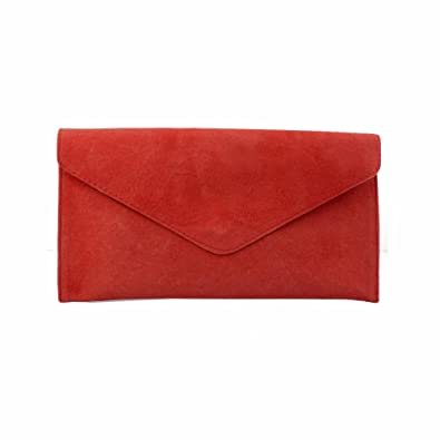 Ladies/Womens Red Suede Envelope Evening Clutch Bag: Amazon.co.uk ...