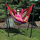 Sunnydaze Hanging Hammock Chair Swing with Sturdy Space-Saving Stand for Indoor or Outdoor Use, Sunset, 330 Pound Capacity