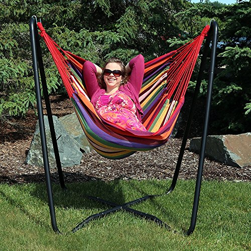 Sunnydaze Hanging Rope Hammock Chair Swing with Space Saving Stand, Sunset - for Indoor or Outdoor Patio, Yard, Porch, and (Hammocks Cushioned Single Swing)