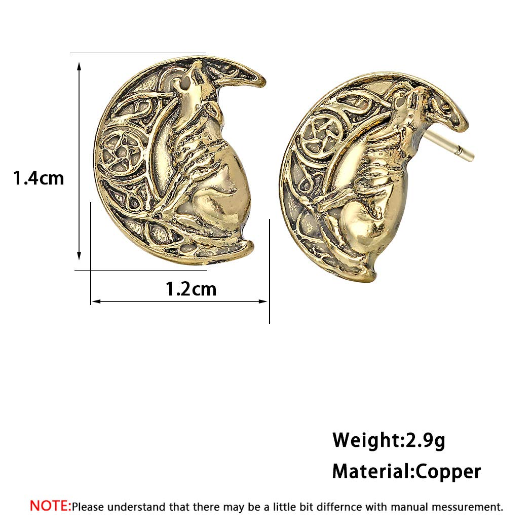 Wolf Crescent Moon Punk Earrings for Women Female Odin 's Symbol of Norse  Viking Metal Cool Animal Jewelry Earring