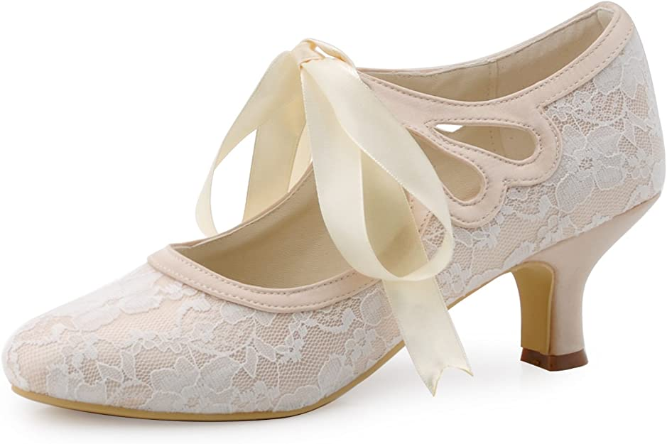 1920s Style Shoes, Heels, Boots Elegantpark HC1521 Womens Mary Jane Low Heels Prom Closed Toe Lace Satin Ribbons Wedding Party Court Shoes £35.99 AT vintagedancer.com