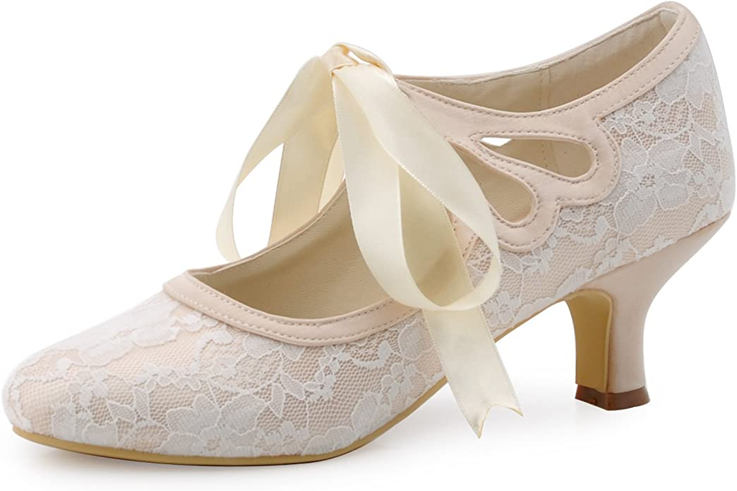 Cottagecore Clothing, Soft Aesthetic ElegantPark HC1521 Womens Mary Jane Low Heels Prom Closed Toe Lace Satin Ribbons Wedding Party Court Shoes £33.95 AT vintagedancer.com