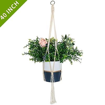 ALLADINBOX Macrame Plant Hanger - 40 Inch Indoor Outdoor Hanging Planter Basket Flower Pot Holder Cotton Rope 4 Legs Suitable for Pots Up to 10 Inches in Diameter(Plant & Pot NOT Included): Garden & Outdoor