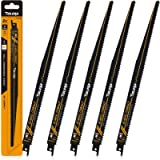 TOLESA Reciprocating Saw Blade Bi-Metal Cobalt for Sawzall Saw 12-Inch 6TPI Nail-Embedded Wood - 5 Pack