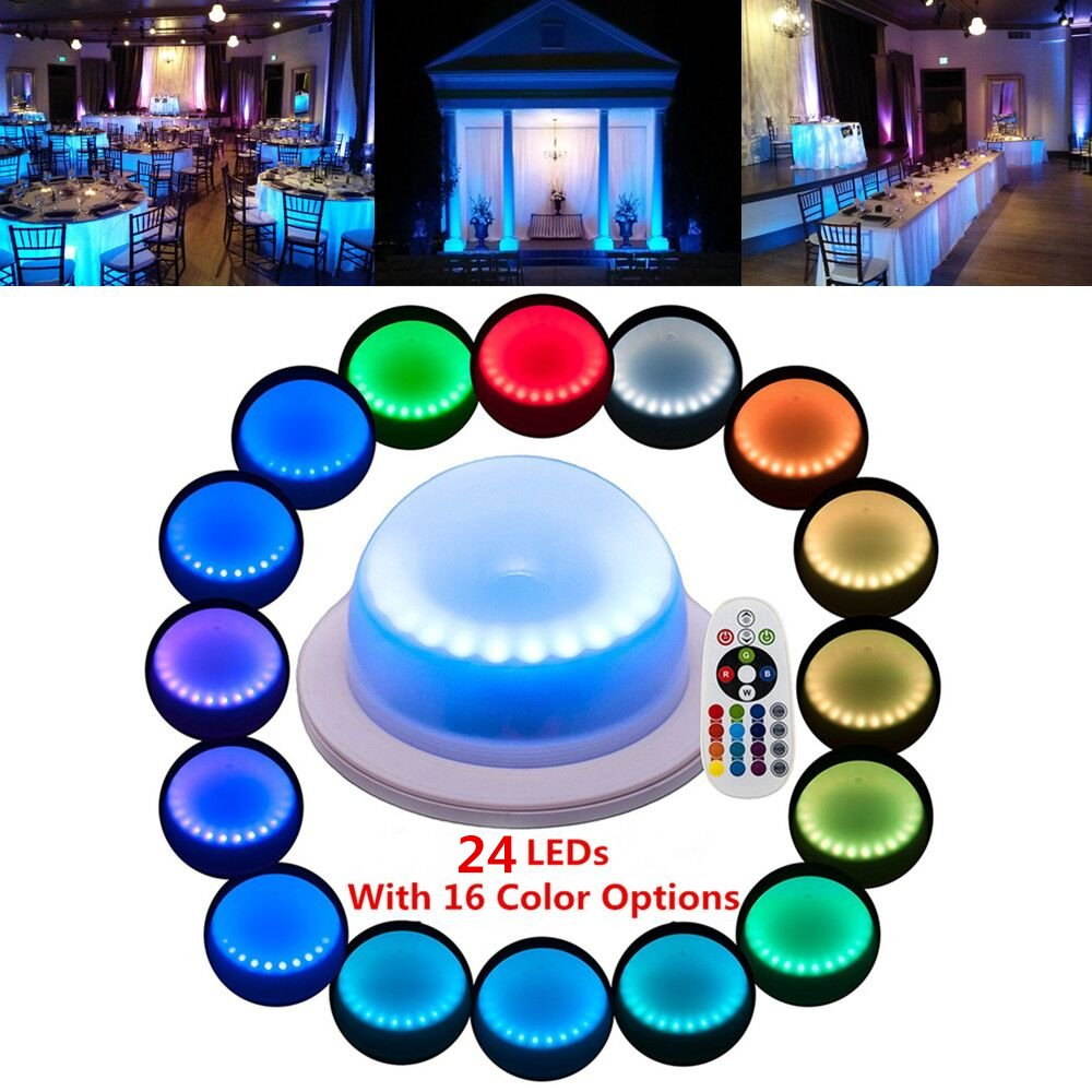 LACGO Chargable 24 LEDs Super Bright with 16 Color Options Remote Control Rechargeable Wedding Under Table Light, Waterproof LED Garden Light, Multicolor Swimming Pool Light Perfect for Home(1 PCS)