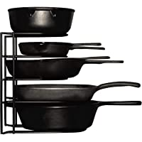 Heavy Duty Pots and Pans Organizer - For Cast Iron Skillets, Pots, Frying Pans, Lids   5-Tier Durable Steel Rack for Kitchen Counter & Cabinet Storage and Organization - No Assembly Required [Black]