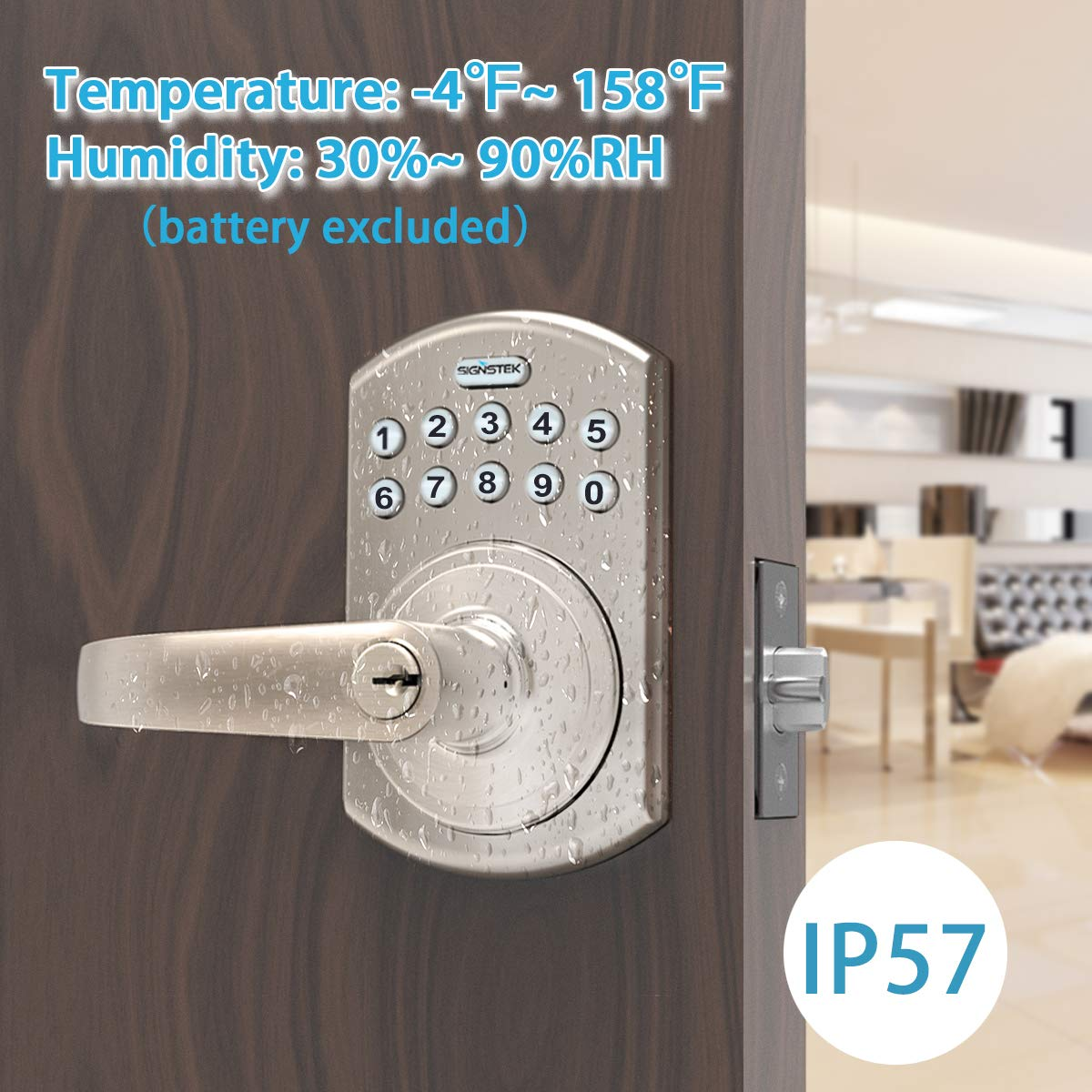 Signstek Keypad Entry Door Lock with Flex-Lock and Reversible Lever Password//Key Accessible LED Backlight