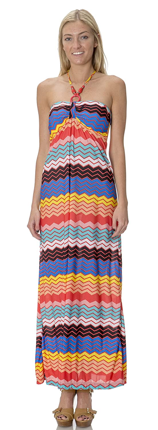 Classic Designs Womens Beaded Halter Silky Stretch ITY Maxi Dress /