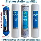 """10"""" Zoll Filterset 2,5 Jahre für 5 Stufige Osmoseanlagen Ersatzfilter Filter"""