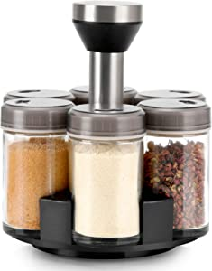 Mlici Salt & Pepper Shakers Organizer Set of 6 bottle, Clear Condiment Jar & Spice Bottle Salt and Pepper Shakers, Seasoning Rack Spice Pots Storage Container - Cruet with Cover & 360°Stand Base